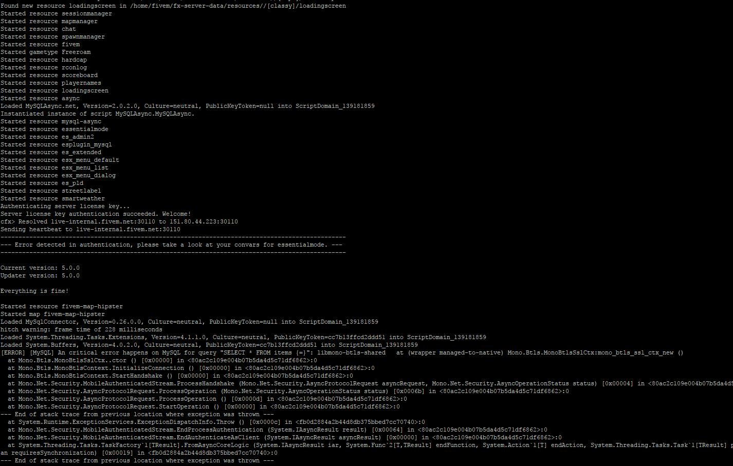 HELP] Weird mysql error after server launches - Server