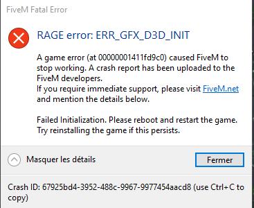 RAGE error: ERR_GFX_D3D_INIT - Technical Support - FiveM