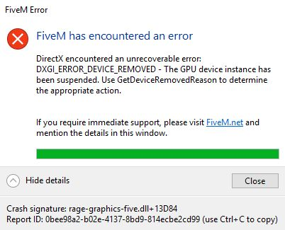 Five M has encountered an error - Technical Support - FiveM