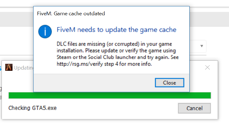 FiveM needs to update the game cache - Technical Support - FiveM