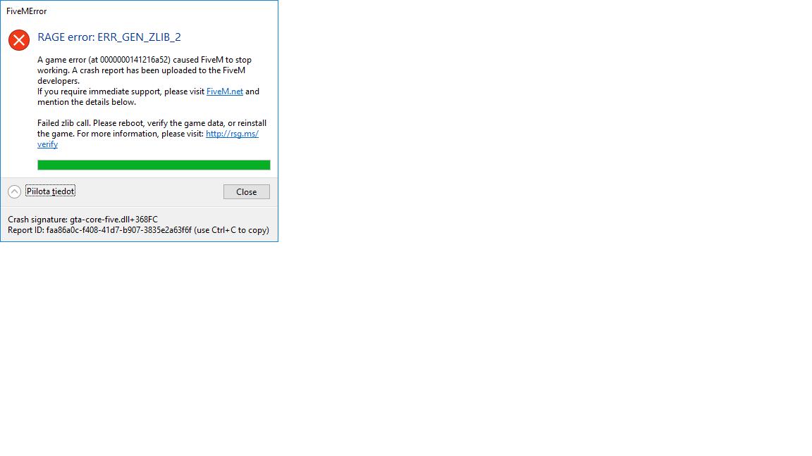 RAGE error: ERR_GEN_ZLIB_2 - - Technical Support - FiveM