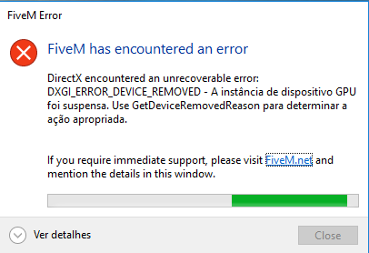 FiveM has encountered an error Directx encountered an unrecoverable