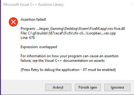 Assertion failed! help! - Technical Support - FiveM
