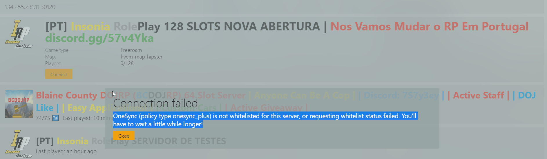 OneSync (policy type onesync_plus) ERROR When joining Server