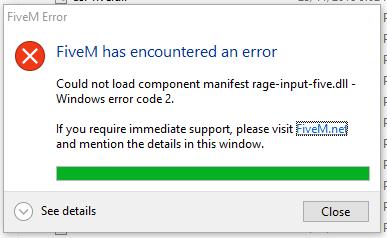 FiveM Wont Launch (rage-input five dll error) - Technical Support