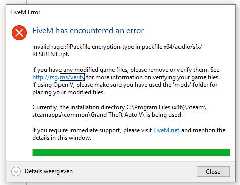 Fivem encountered error - Technical Support - FiveM