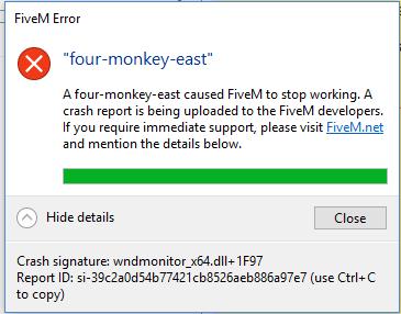 Four-monkey-east Error code - Technical Support - FiveM