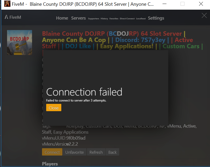 Cant connect to a certain server - Technical Support - FiveM