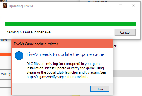 fivem needs to update game cache