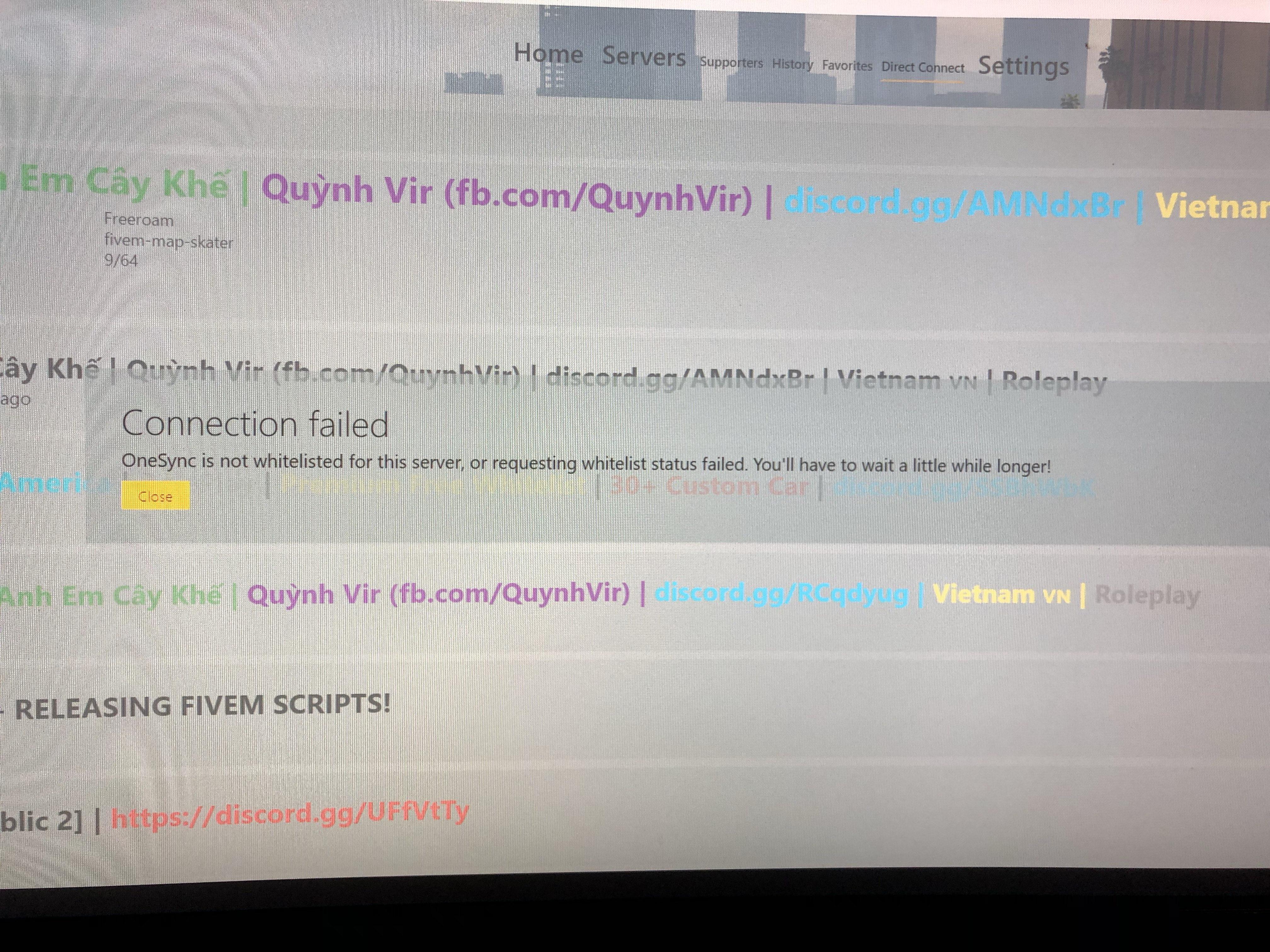 OneSync whitelist status problem - OneSync reports - FiveM