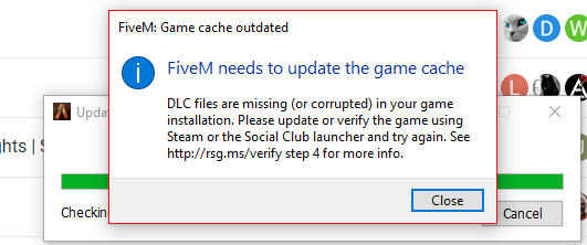 FiveM needs to update the game cache I DLC Files missing