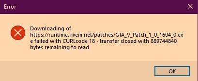 CURLcode 18 - transfer closed ERROR when updating client