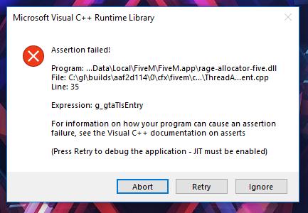New]Microsoft Visual C++ Runtime Library [FiveM Error] - Technical