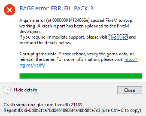 I keep getting (RAGE error: ERR_FIL_PACK_3) - Technical