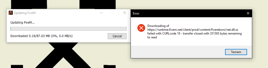 CURLcode 18 error while trying to install the game