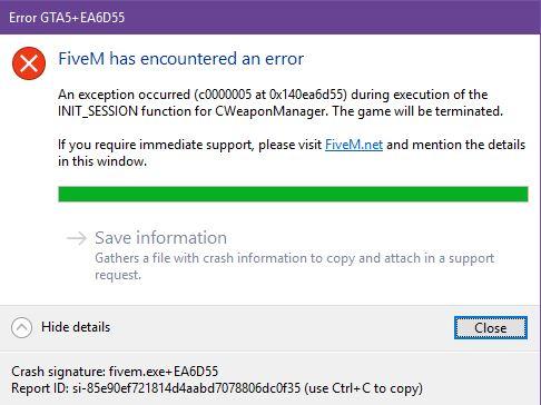 Error GTA5+EA6D55 An exeption occurred (c0000005 at 0x140ea6d55