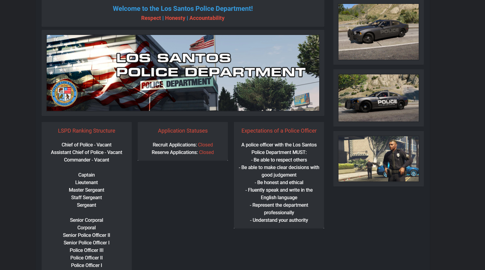 San Andreas State Role Play   CAD/MDT   Open Staff Positions