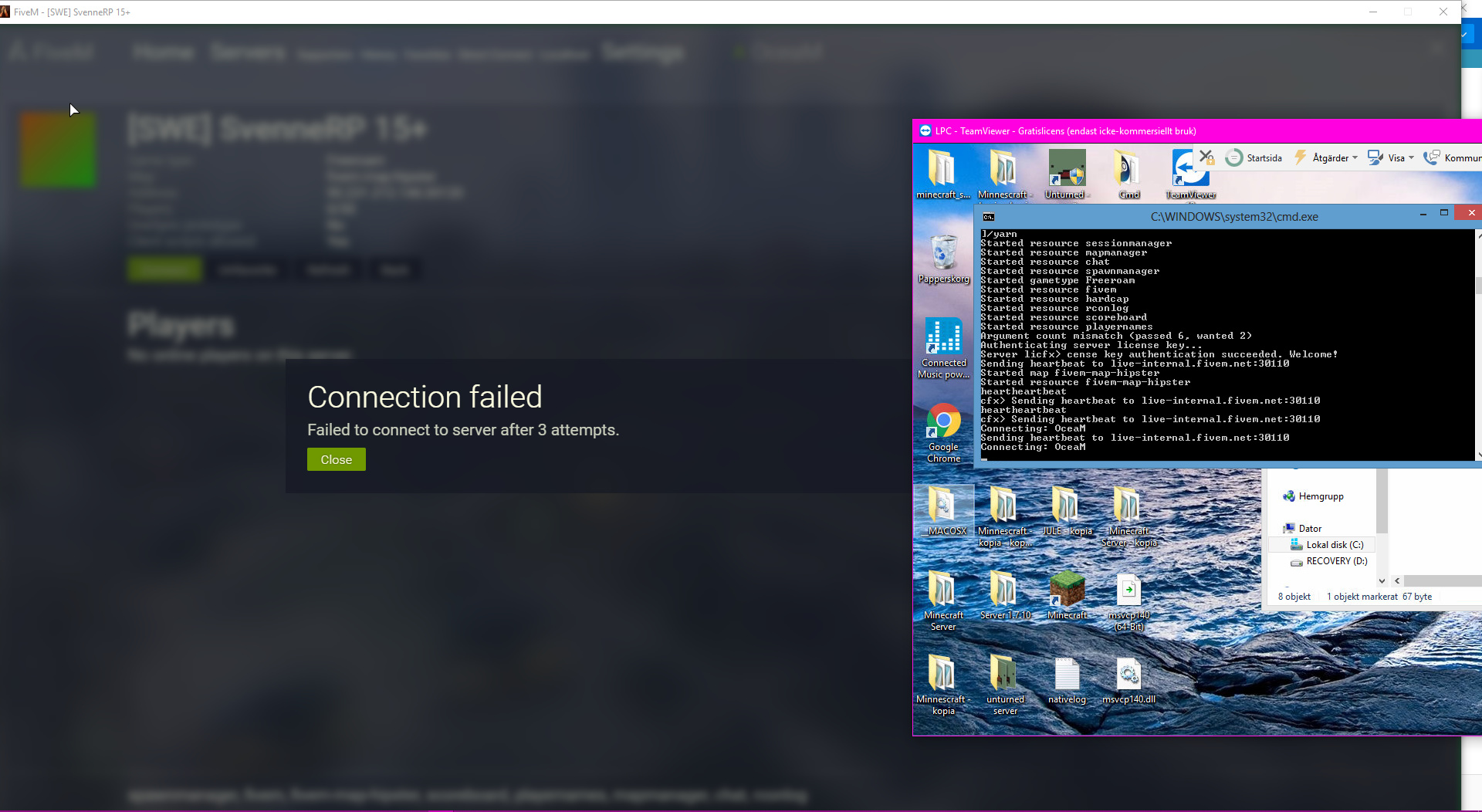 Cant enter my server after 3 attempts - Server Discussion - FiveM