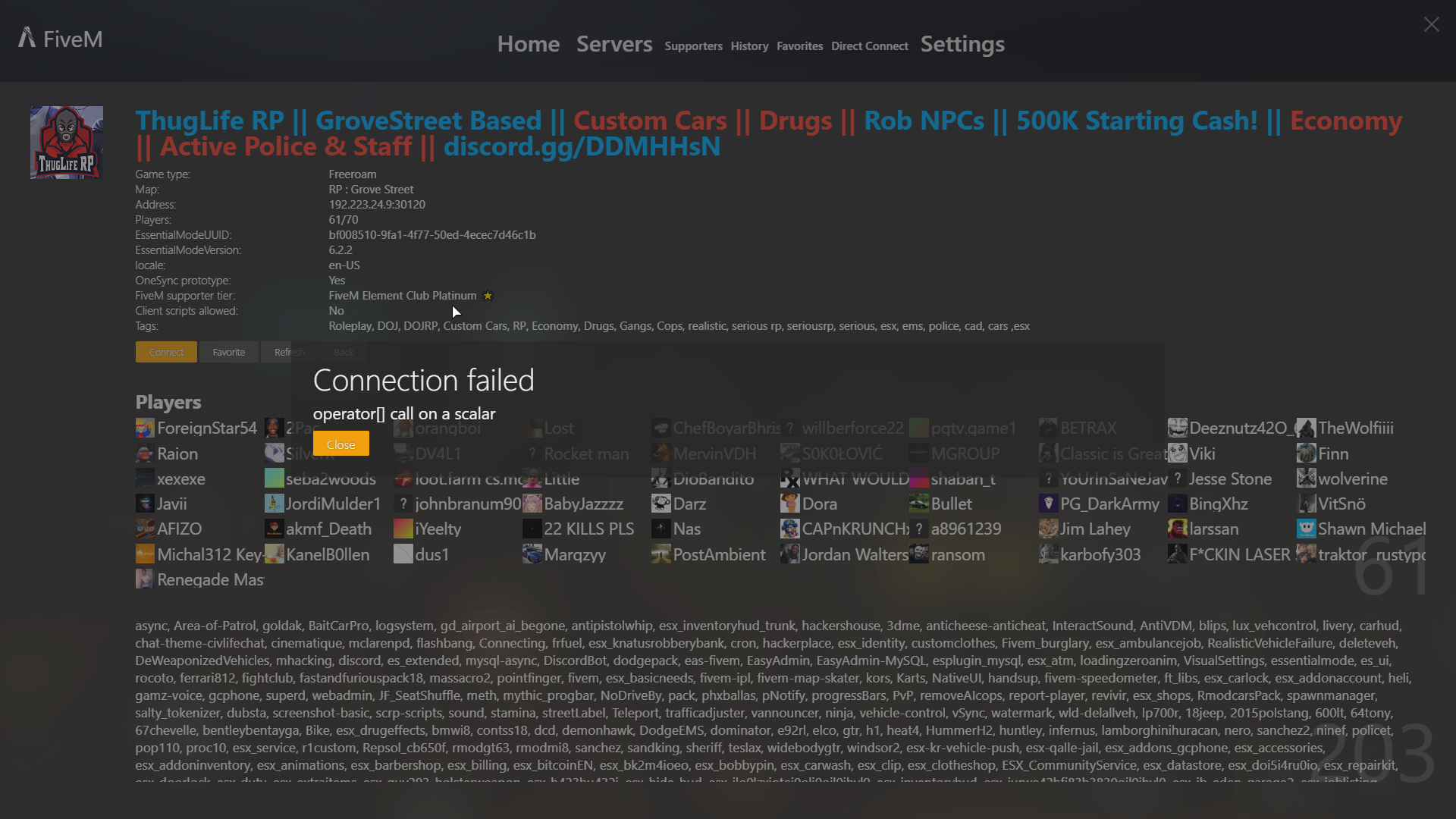Can't connect to any servers with FiveM - Technical Support